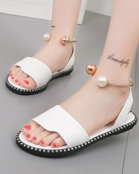 Korean style sandy beach slippers pearl sandals for women