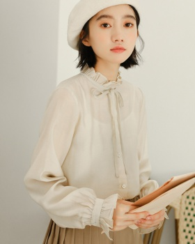 Court style maiden wood ear trumpet sleeves shirt
