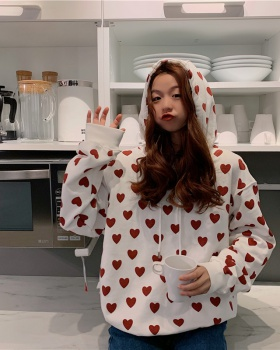 Loose student white coat heart hooded printing tops