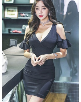 Low-cut V-neck temperament strapless tight dress
