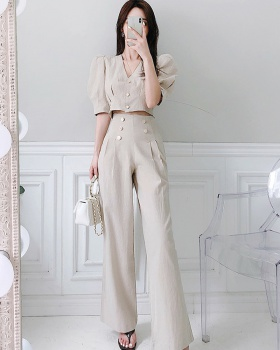 Puff sleeve tops double-breasted wide leg pants a set