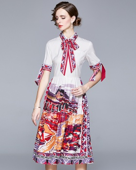 Sweet European style bow printing college style dress