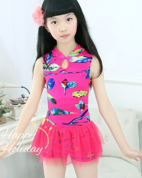 Conjoined girl child skirt fashion printing swimwear