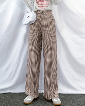 Drape plaid casual pants mopping wide leg pants for women