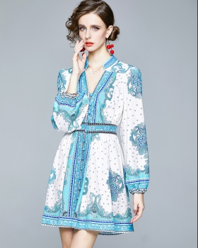 Long sleeve national style printing ornament dress