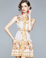 Refreshing printing retro frenum vacation dress