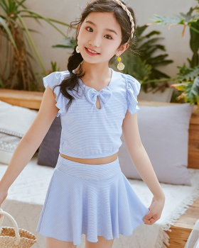 Korean style child fashion skirt girl stripe swimwear 2pcs set