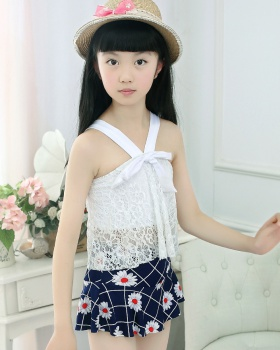 Child separate swimwear sweet big child skirt 2pcs set