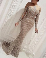 Prom sexy dress bronzing long sleeve formal dress