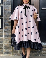Loose speaker polka dot cstand collar Casual summer bow dress