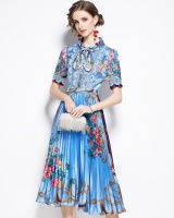 Pleated lace long bow retro printing high waist dress