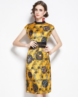 Chinese style printing retro yellow satin waistband dress