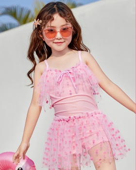 Lovely conjoined skirt child sweet princess swimwear