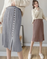 Knitted long autumn and winter pleated Korean style skirt for women