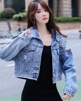 Denim long sleeve autumn strapless Korean style jacket