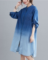 Loose gradient shirt Casual denim dress for women