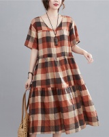 Pinched waist drawstring loose slim large yard dress for women