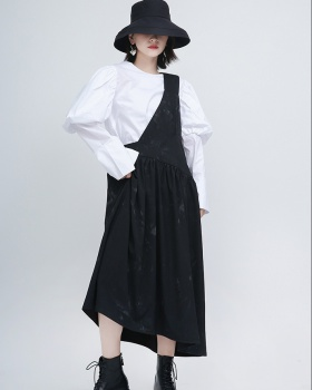 Sloping shoulder long temperament retro strap pinched waist dress