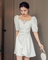 White V-neck slim temperament pinched waist France style dress