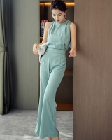 Round neck wide leg pants summer tops 2pcs set