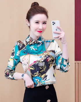 Real silk Western style shirt printing tops for women