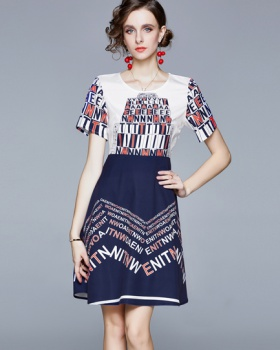 Long printing summer T-shirt European style letters dress