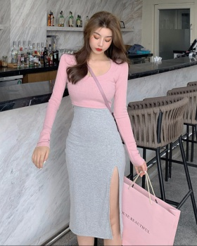 Knitted tops bottoming shirt 2pcs set for women