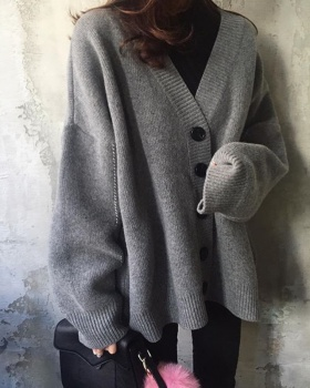 Student knitted loose coat all-match pure cardigan for women