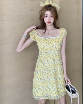 Yellow temperament France style slim retro dress for women
