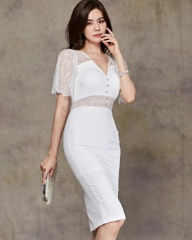 Fashion long splice temperament slim summer dress