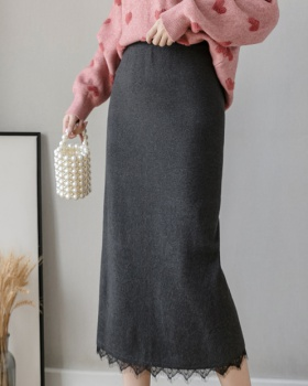 Slim autumn lace split long high waist knitted Korean style skirt