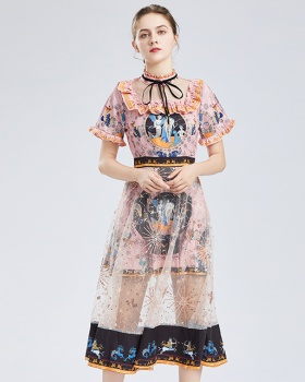 Gauze retro printing long sequins France style dress