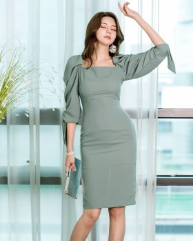 Square collar ladies Korean style spring dress