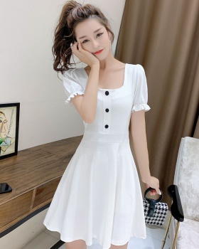 Lantern sleeve tender white France style dress for women