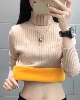High collar bottoming shirt inside the ride sweater for women