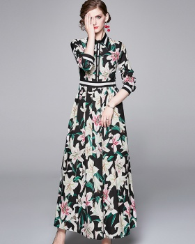 All-match slim pinched waist printing fashion dress