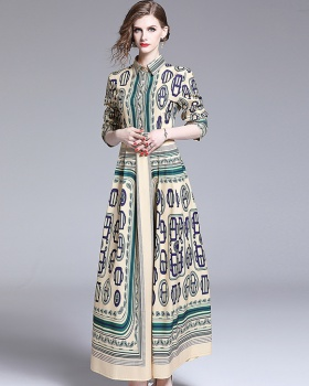 All-match printing fashion pinched waist dress