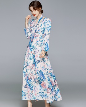 Printing spring and autumn long dress lantern sleeve dress