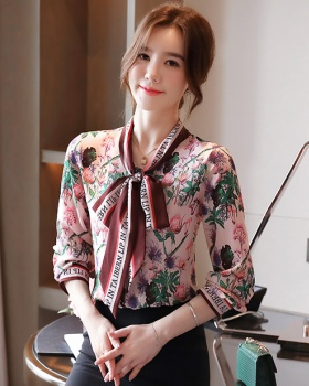 France style summer printing shirt flowers floral tops