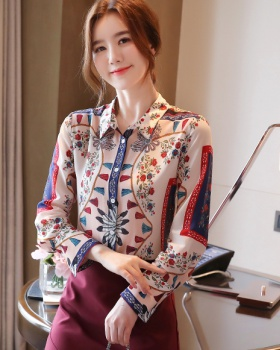 Rose temperament printing cuff long sleeve shirt