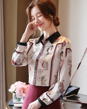 Drape temperament printing tops fashion autumn loose shirt