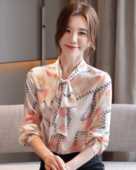 Long sleeve streamer tops bow silk shirt for women
