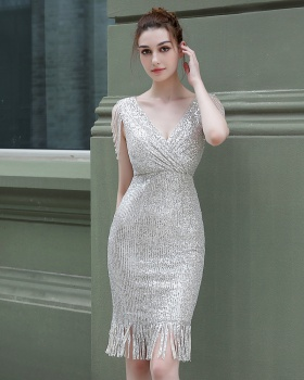 Banquet beading dress lady evening dress