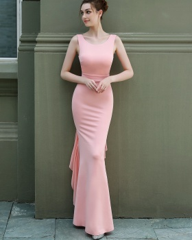 Long slim formal dress red model evening dress