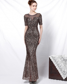 Noble banquet sequins short sleeve sleeve evening dress