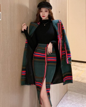 Plaid fashion skirt package hip coat 2pcs set