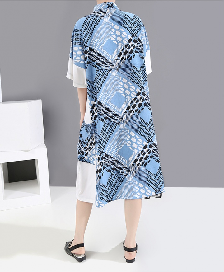 Loose slim summer shirt long printing dress for women