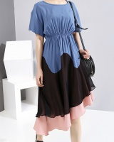 Splice chiffon pinched waist summer dress for women