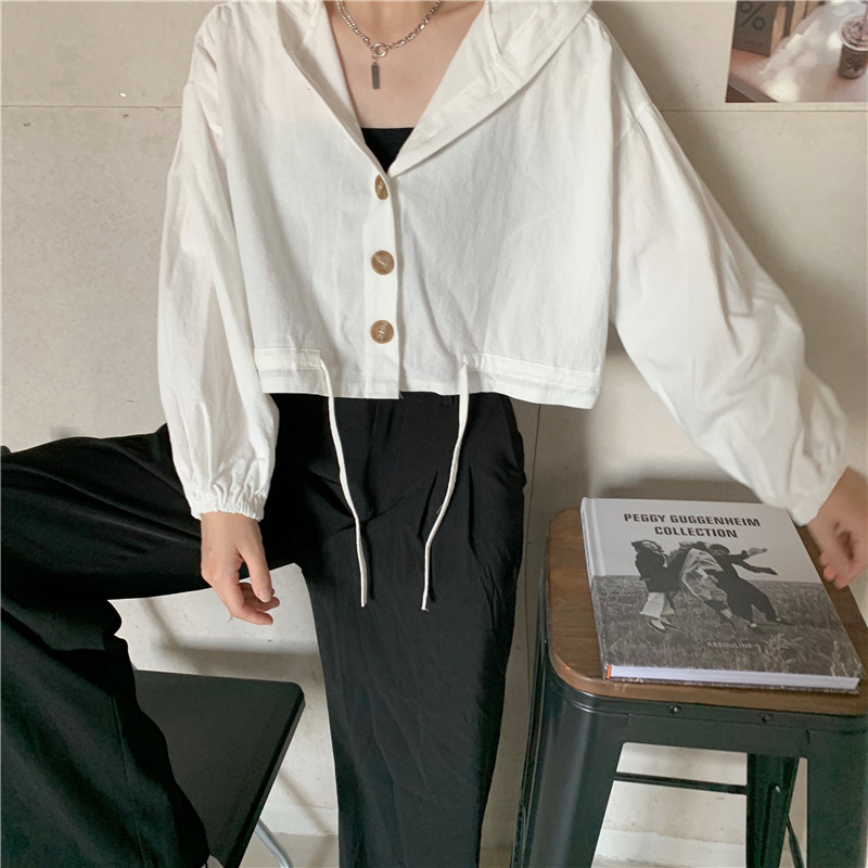 Navel long sleeve short hooded autumn cotton coat