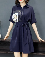 Autumn France style pinched waist retro slim dress